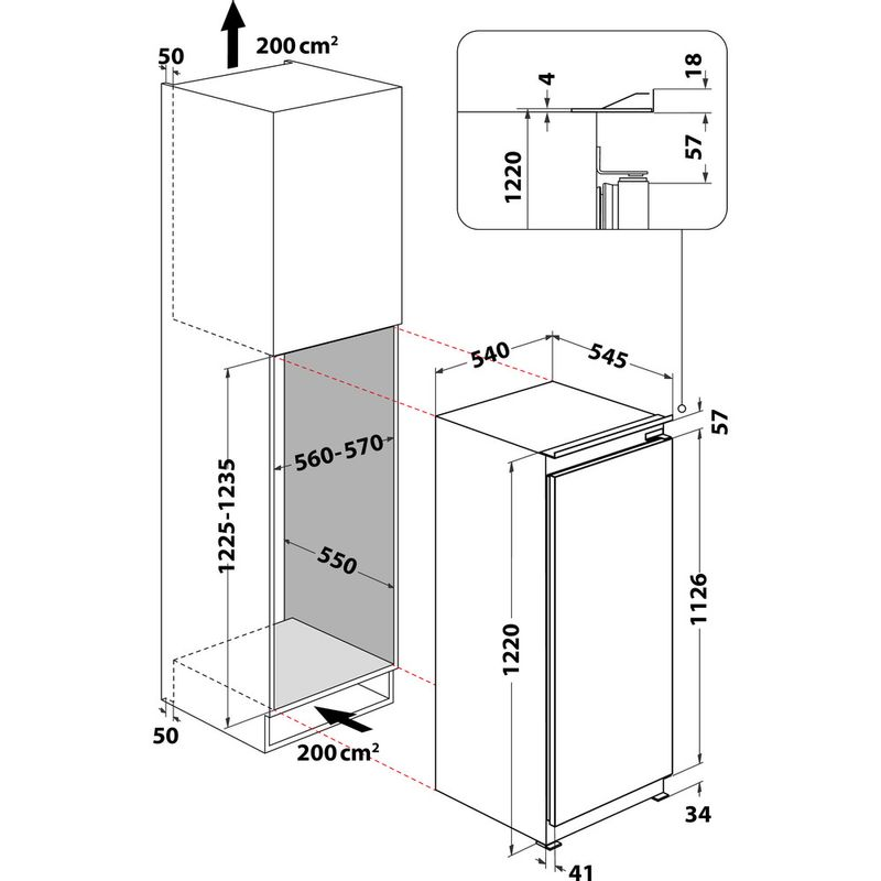 Hotpoint-Refrigerator-Built-in-HSZ-12-A2D.UK-1-Inox-Technical-drawing