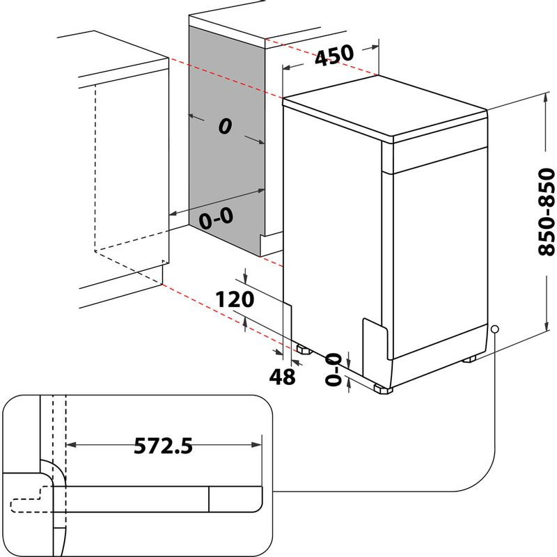 Hotpoint-Dishwasher-Free-standing-HSFE-1B19-UK-N-Free-standing-F-Technical-drawing