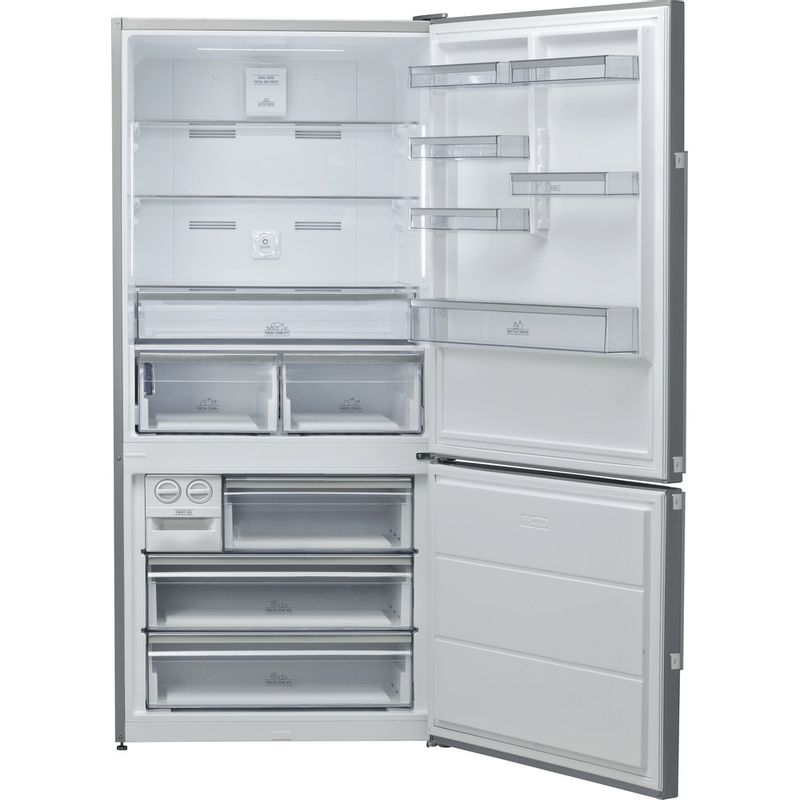 Hotpoint-Fridge-Freezer-Free-standing-H84BE-72-XO3-UK-2-Inox-2-doors-Frontal-open