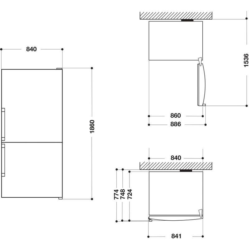 Hotpoint-Fridge-Freezer-Free-standing-H84BE-72-XO3-UK-2-Inox-2-doors-Technical-drawing