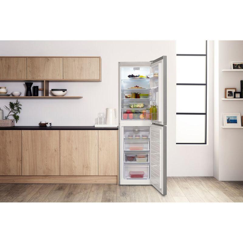 Hotpoint-Fridge-Freezer-Free-standing-HBNF-55181-S-AQUA-UK-1-Silver-2-doors-Lifestyle-frontal-open