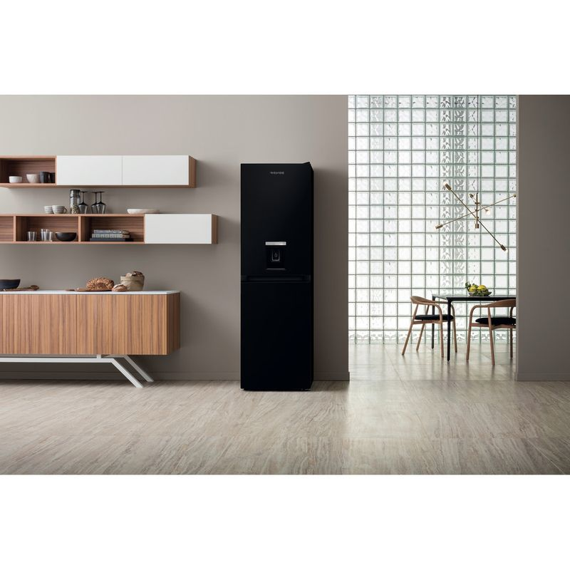 Hotpoint-Fridge-Freezer-Free-standing-HBNF-55181-B-AQUA-UK-1-Black-2-doors-Lifestyle-frontal