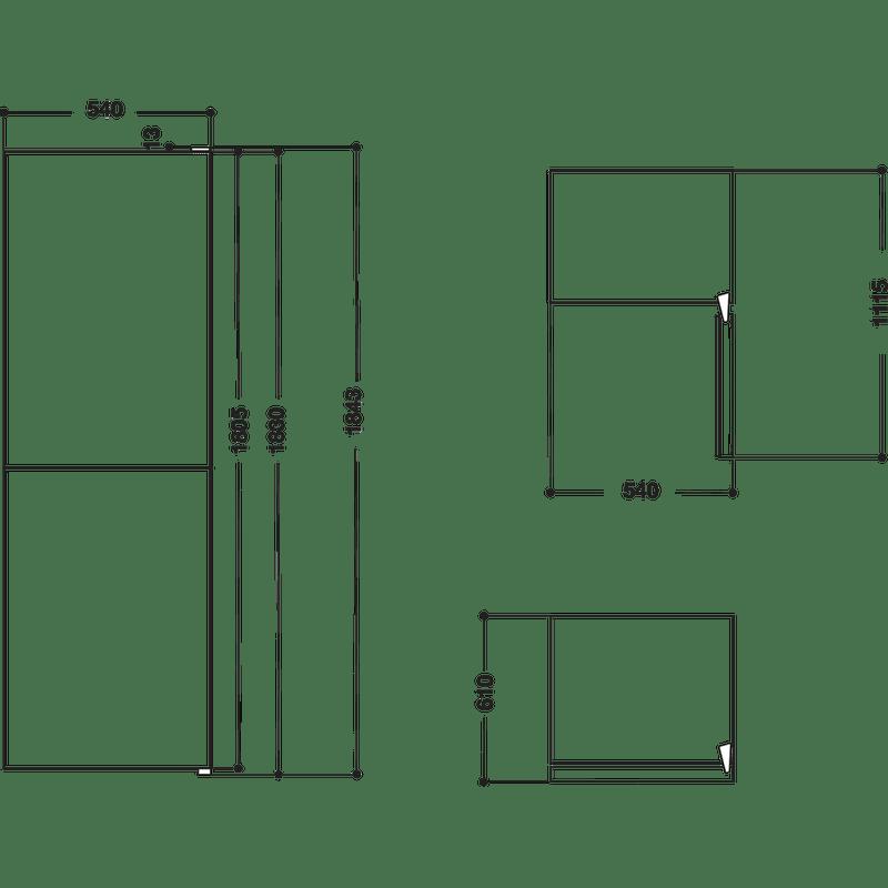 Hotpoint-Fridge-Freezer-Free-standing-HBNF-55181-B-AQUA-UK-1-Black-2-doors-Technical-drawing