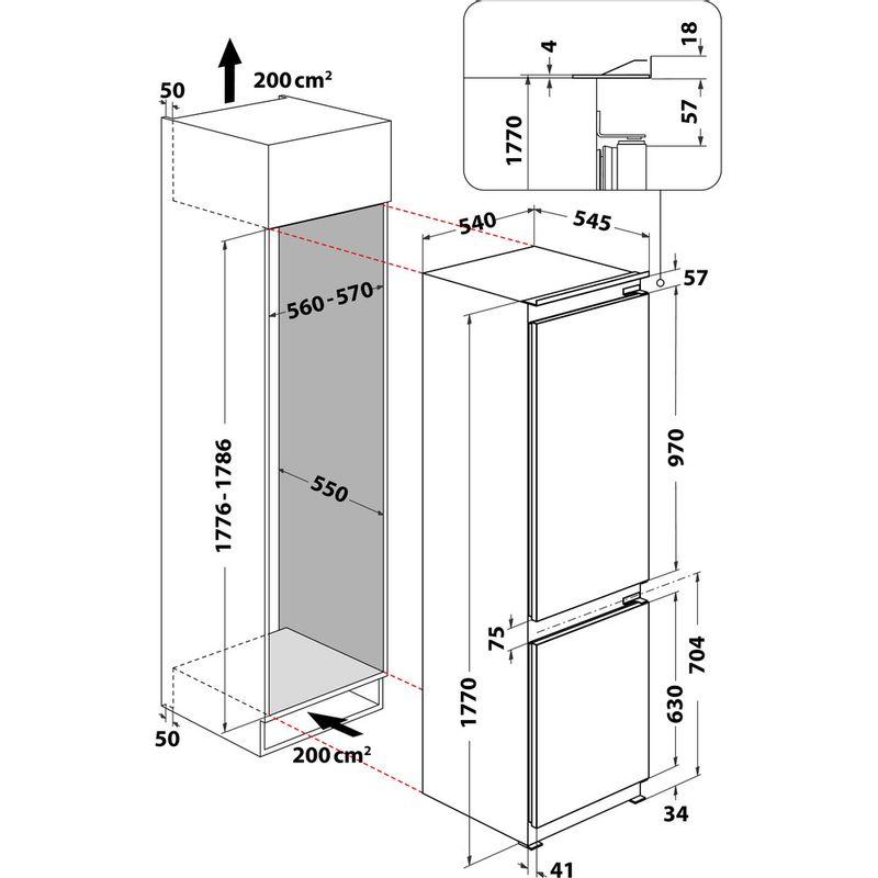 Hotpoint-Fridge-Freezer-Built-in-HMCB-70301-UK-White-2-doors-Technical-drawing