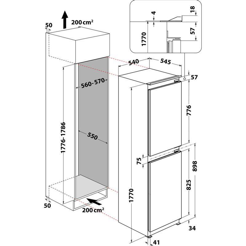 Hotpoint-Fridge-Freezer-Built-in-HMCB-50501-UK-White-2-doors-Technical-drawing