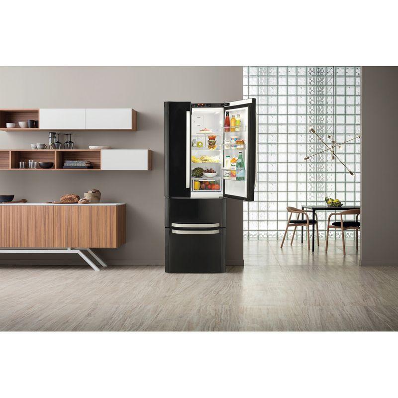Hotpoint-Fridge-Freezer-Free-standing-FFU4D-K-1-Black-4-doors-Lifestyle-frontal-open