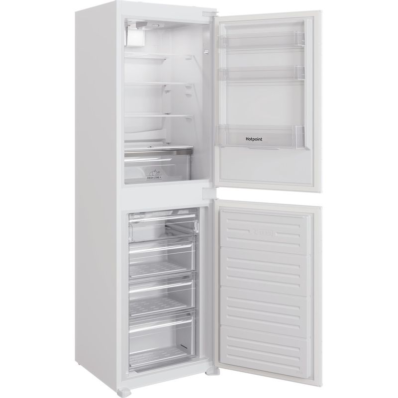 Hotpoint-Fridge-Freezer-Built-in-HBC18-5050-F1-White-2-doors-Perspective-open