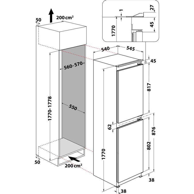Hotpoint-Fridge-Freezer-Built-in-HBC18-5050-F1-White-2-doors-Technical-drawing