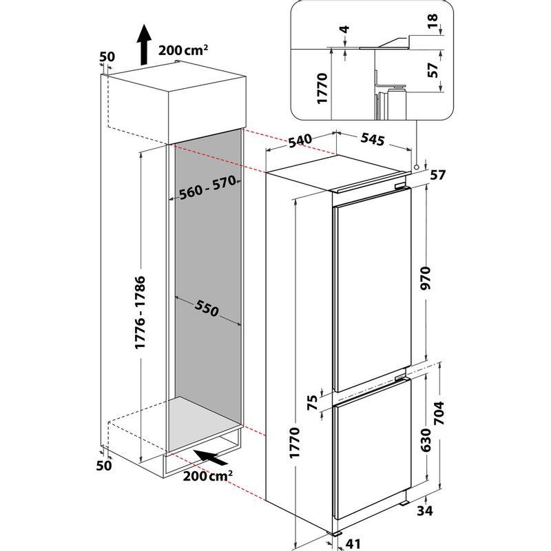 Hotpoint-Fridge-Freezer-Built-in-HTC18-T311-UK-White-2-doors-Technical-drawing