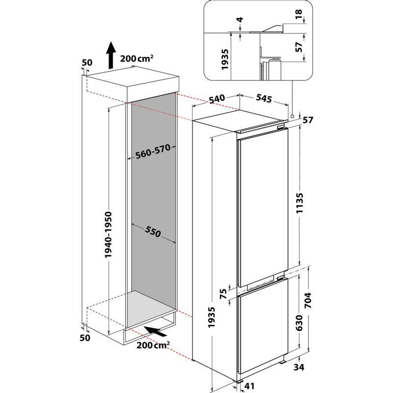 Hotpoint-Fridge-Freezer-Built-in-HTC20-T321-UK-White-2-doors-Technical-drawing