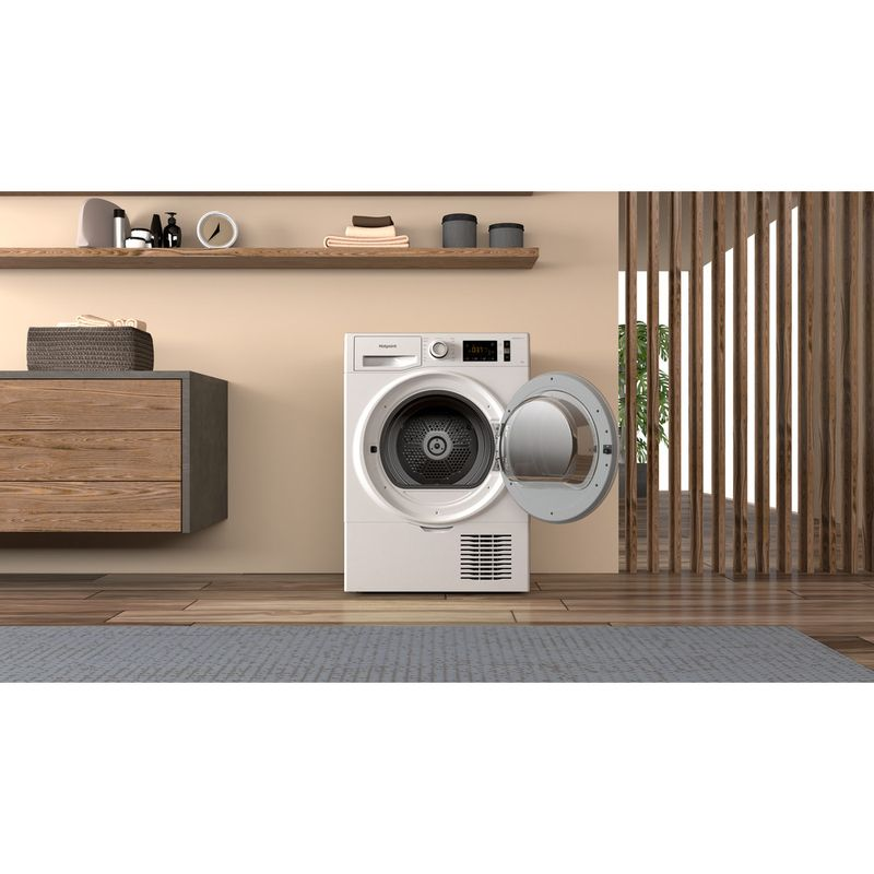 Hotpoint-Dryer-H3-D91WB-UK-White-Lifestyle-frontal-open