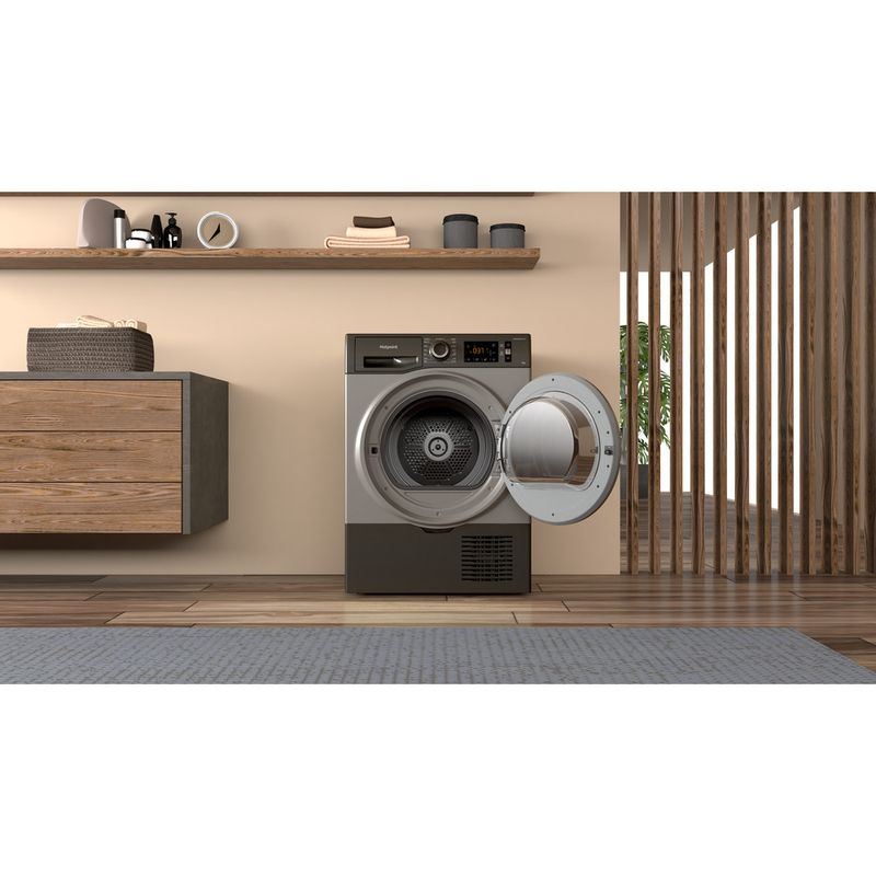 Hotpoint-Dryer-H3-D91GS-UK-Graphite-Lifestyle-frontal-open