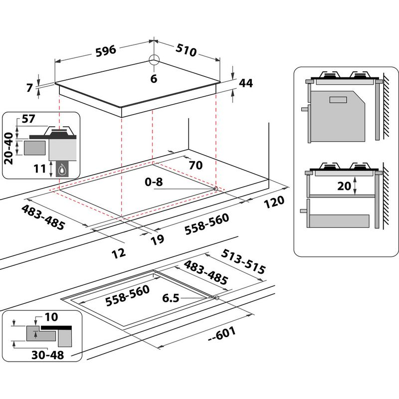 Hotpoint-HOB-HGS-61S-BK-Black-GAS-Technical-drawing