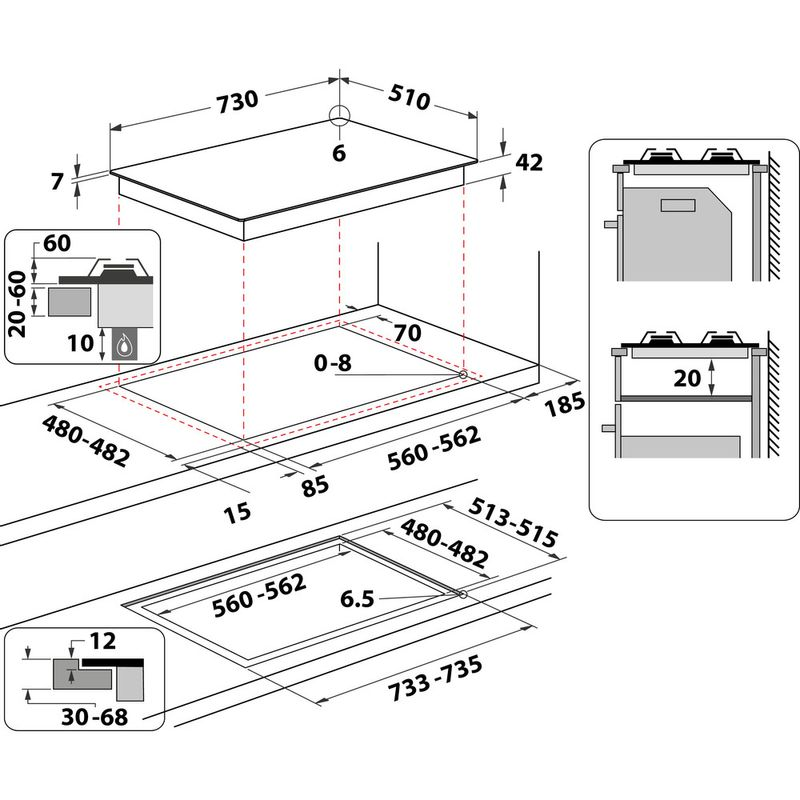 Hotpoint-HOB-HGS-72S-BK-Black-GAS-Technical-drawing