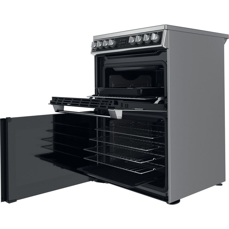 Hotpoint-Double-Cooker-HDM67V8D2CX-UK-Inox-A-Perspective-open