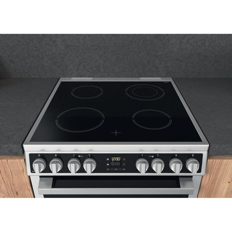Hotpoint-Double-Cooker-HDM67V8D2CX-UK-Inox-A-Lifestyle-frontal-top-down