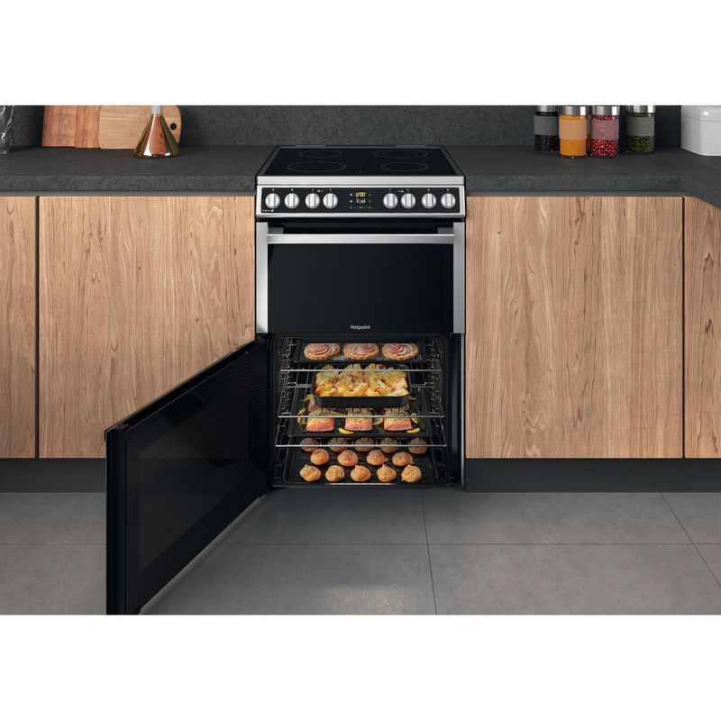 Hotpoint-Double-Cooker-HDM67V8D2CX-UK-Inox-A-Lifestyle-frontal-open