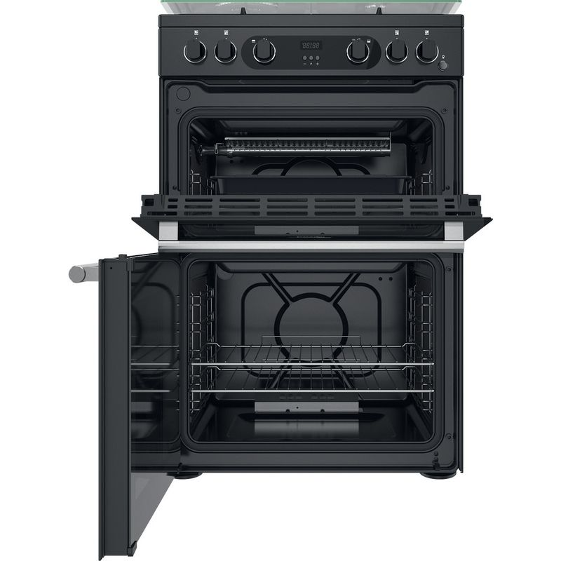 Hotpoint-Double-Cooker-CD67G0C2CA-UK-Antracite-A--Frontal-open