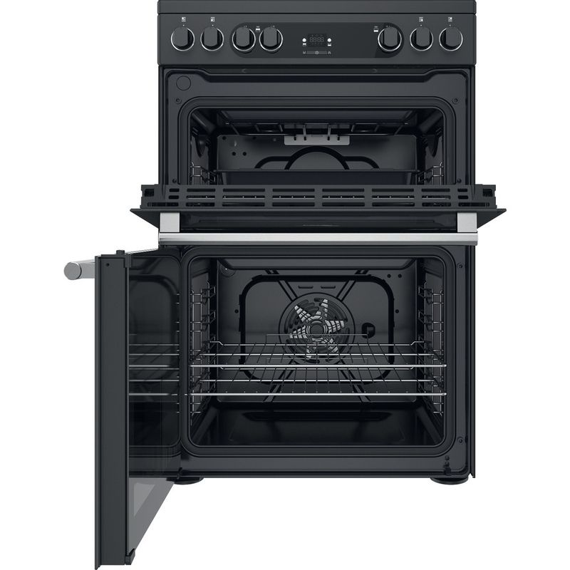 Hotpoint-Double-Cooker-CD67V9H2CA-UK-Antracite-A-Frontal-open