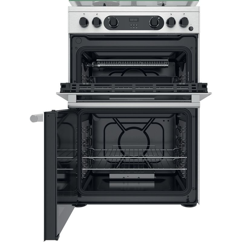 Hotpoint-Double-Cooker-CD67G0CCX-UK-Inox-A--Frontal-open