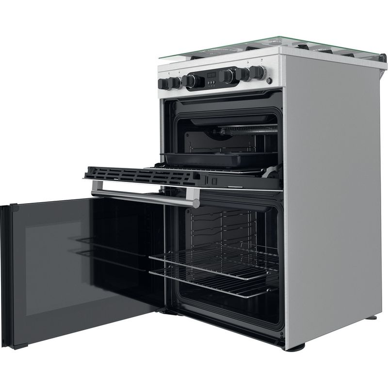 Hotpoint-Double-Cooker-CD67G0CCX-UK-Inox-A--Perspective-open