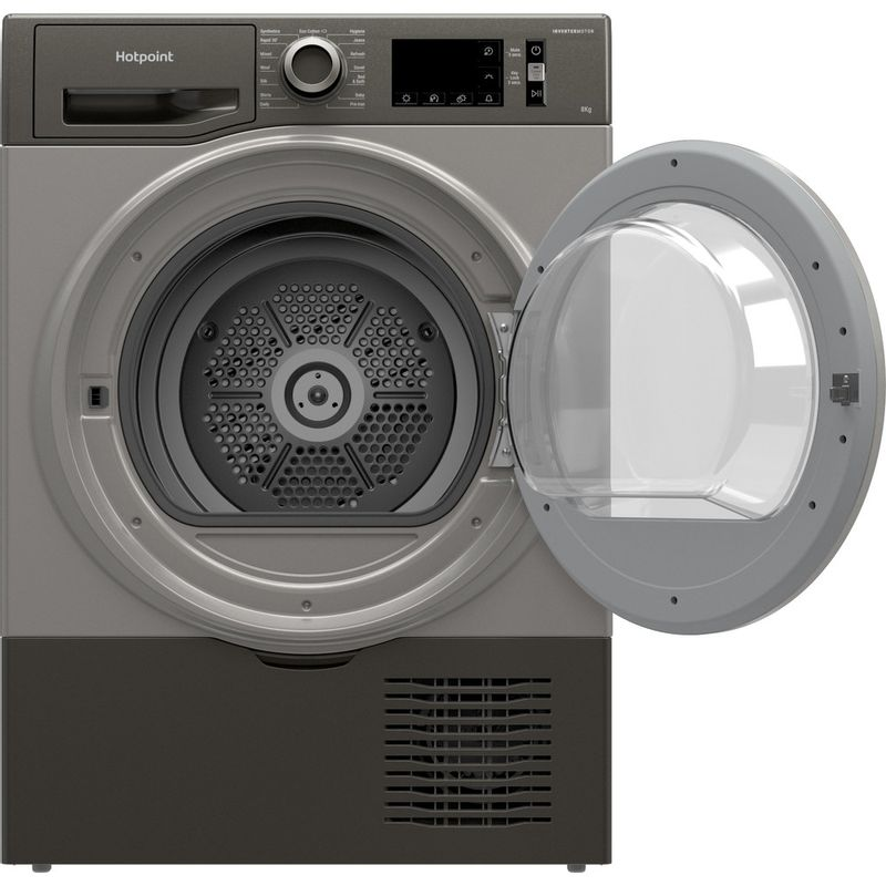 Hotpoint-Dryer-H3-D81GS-UK-Graphite-Frontal-open