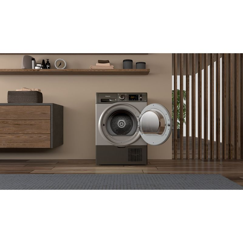 Hotpoint-Dryer-H3-D81GS-UK-Graphite-Lifestyle-frontal-open