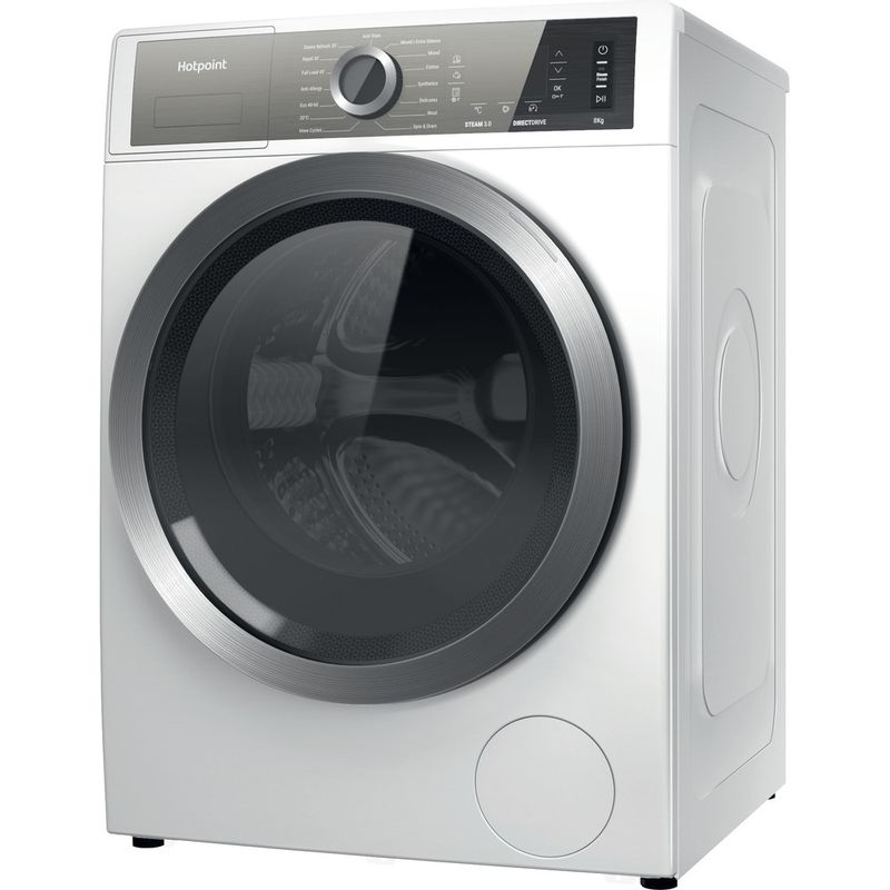 Hotpoint-Washing-machine-Free-standing-H6-W845WB-UK-White-Front-loader-B-Perspective