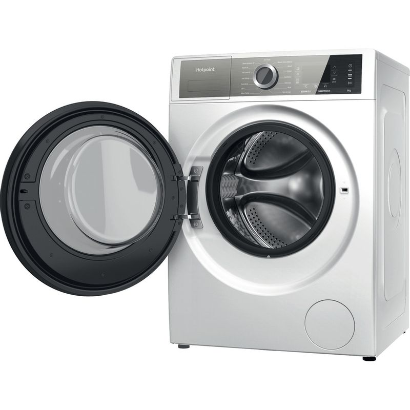Hotpoint-Washing-machine-Free-standing-H6-W845WB-UK-White-Front-loader-B-Perspective-open