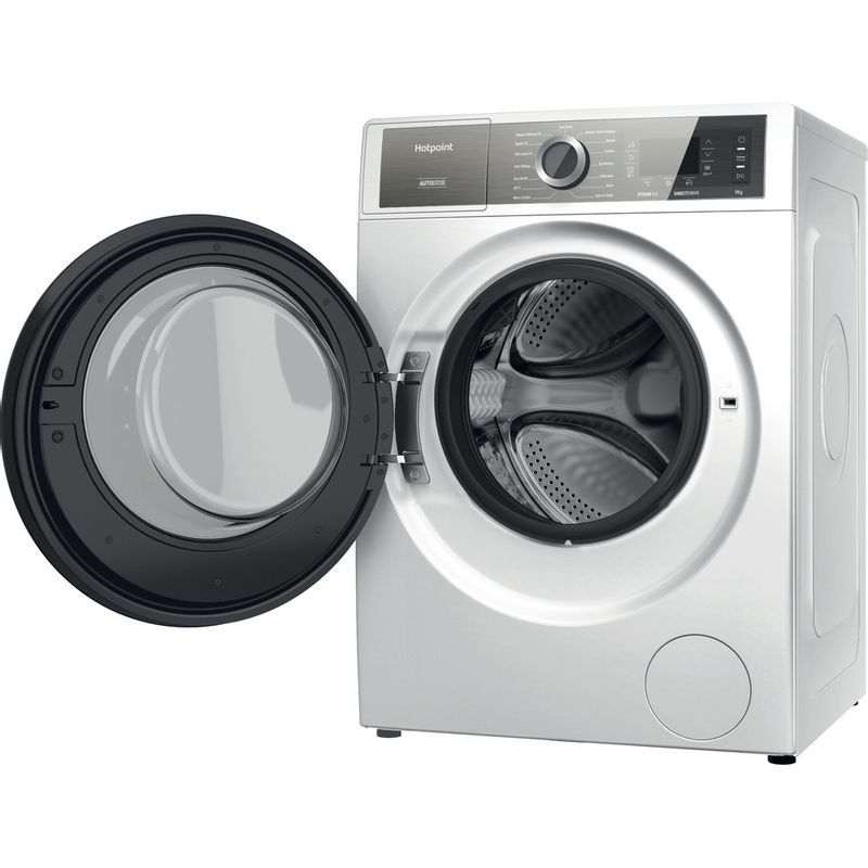 Hotpoint-Washing-machine-Free-standing-H7-W945WB-UK-White-Front-loader-B-Perspective-open