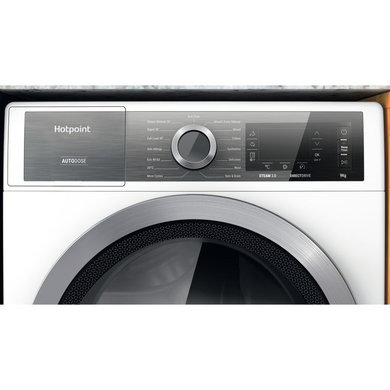 Hotpoint-Washing-machine-Free-standing-H7-W945WB-UK-White-Front-loader-B-Control-panel
