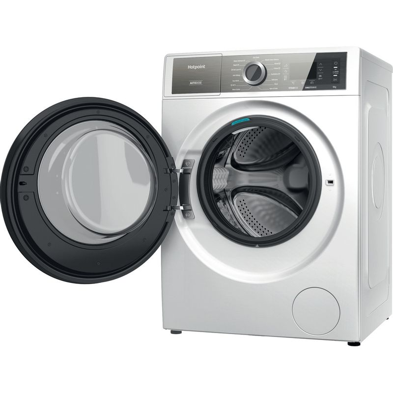 Hotpoint-Washing-machine-Free-standing-H8-W946WB-UK-White-Front-loader-A-Perspective-open