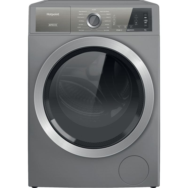 Hotpoint-Washing-machine-Free-standing-H8-W946SB-UK-Silver-Front-loader-A-Frontal