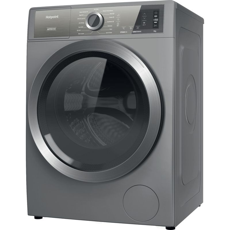 Hotpoint-Washing-machine-Free-standing-H8-W946SB-UK-Silver-Front-loader-A-Perspective