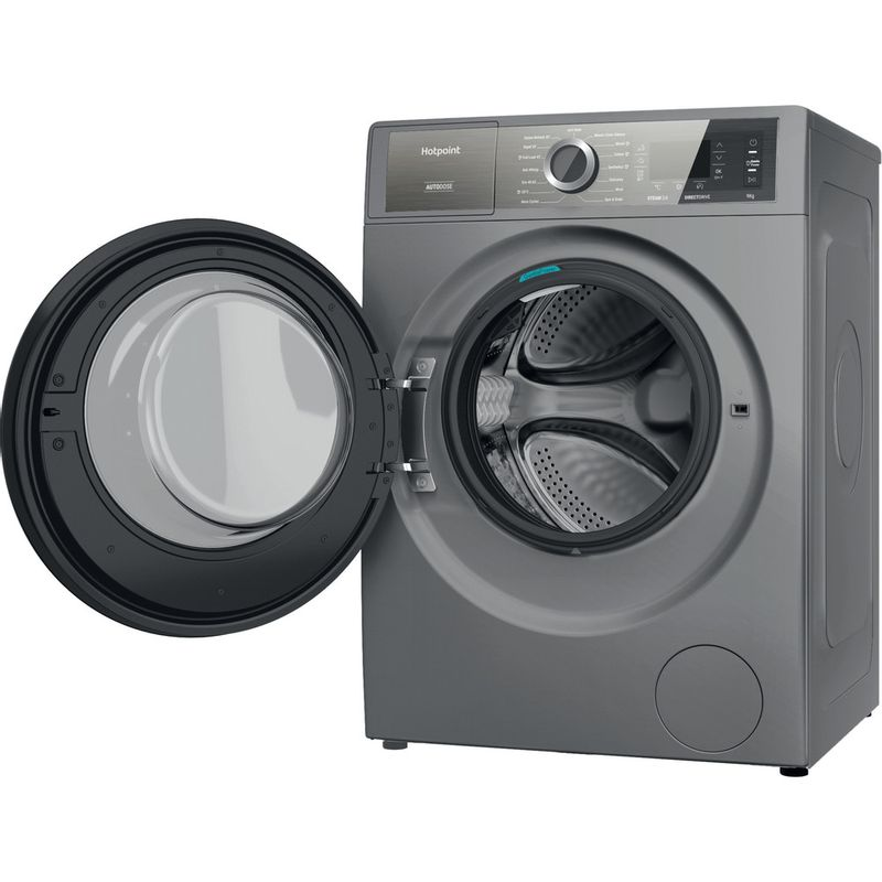 Hotpoint-Washing-machine-Free-standing-H8-W946SB-UK-Silver-Front-loader-A-Perspective-open