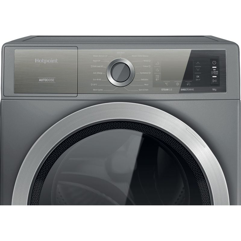 Hotpoint-Washing-machine-Free-standing-H8-W946SB-UK-Silver-Front-loader-A-Control-panel
