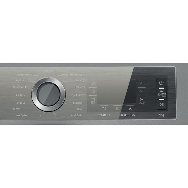 Hotpoint-Washing-machine-Free-standing-H8-W946SB-UK-Silver-Front-loader-A-Program