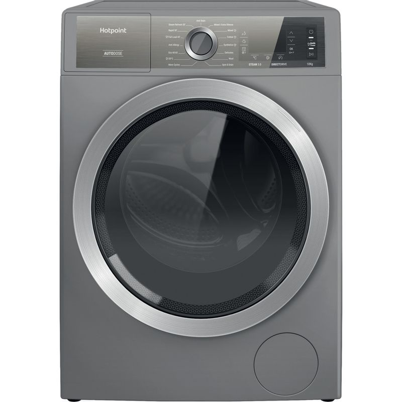 Hotpoint-Washing-machine-Free-standing-H8-W046SB-UK-Silver-Front-loader-A-Frontal