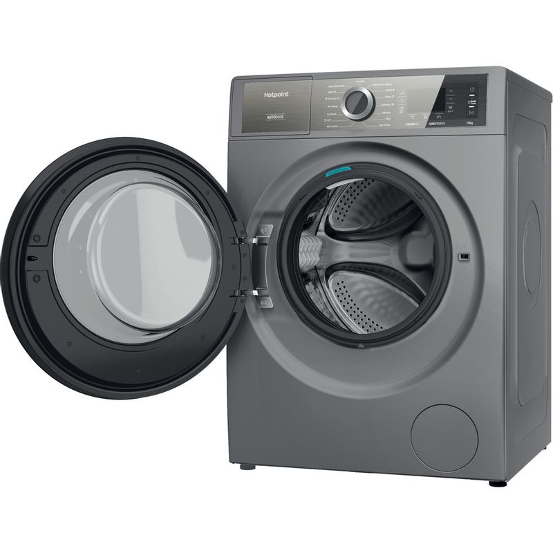 Hotpoint-Washing-machine-Free-standing-H8-W046SB-UK-Silver-Front-loader-A-Perspective-open