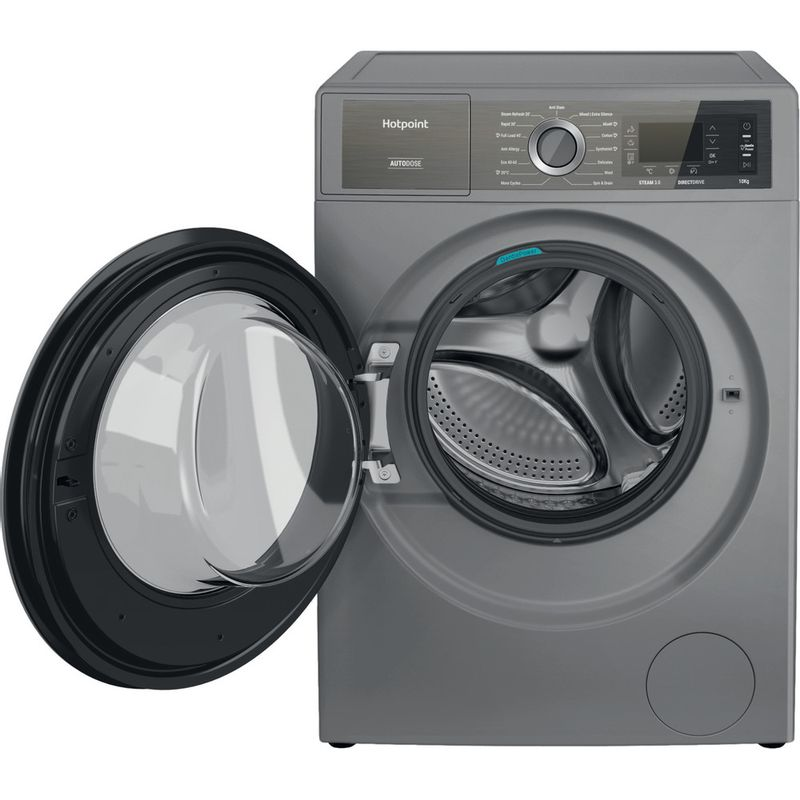 Hotpoint-Washing-machine-Free-standing-H8-W046SB-UK-Silver-Front-loader-A-Frontal-open