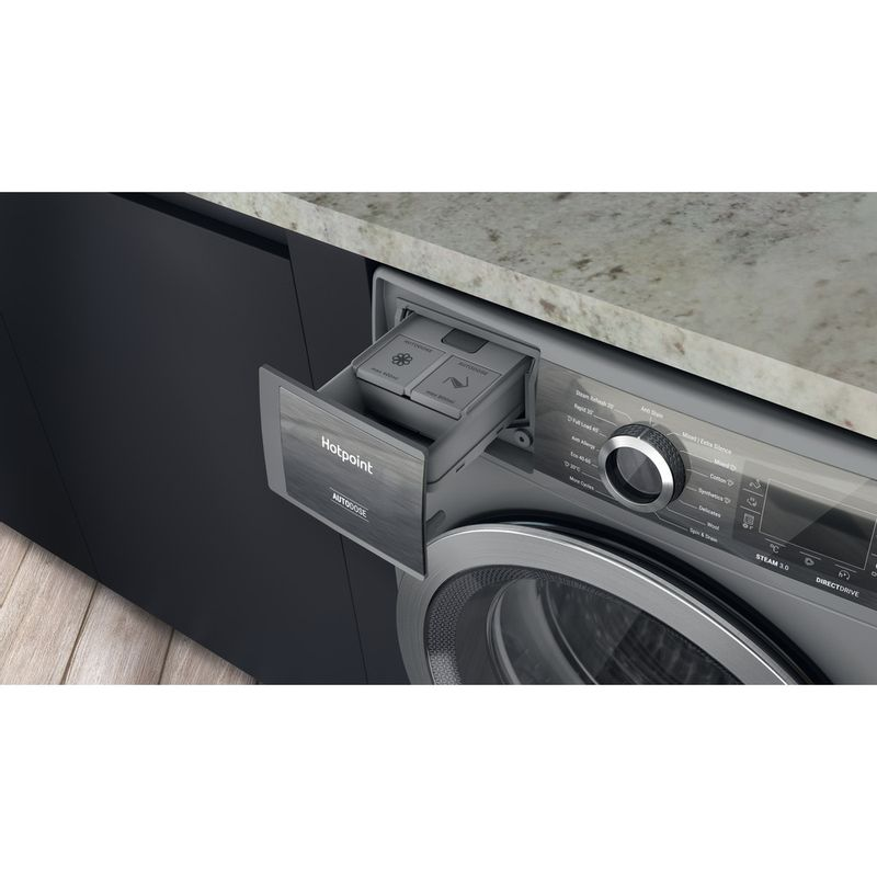 Hotpoint-Washing-machine-Free-standing-H8-W046SB-UK-Silver-Front-loader-A-Drawer