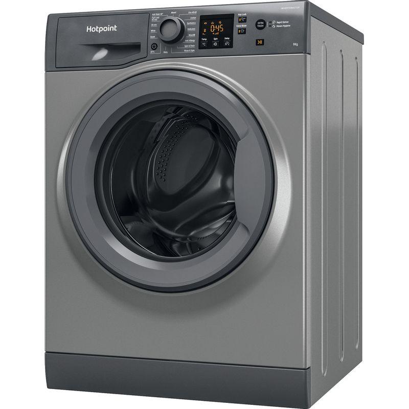 Hotpoint-Washing-machine-Free-standing-NSWR-944C-GK-UK-N-Graphite-Front-loader-C-Perspective