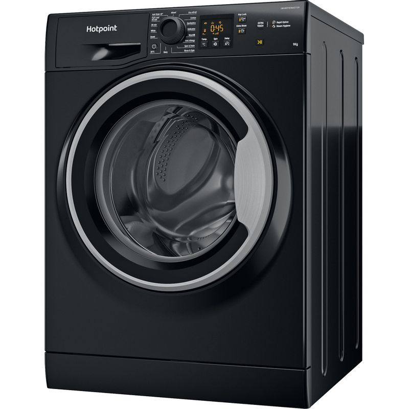 Hotpoint-Washing-machine-Free-standing-NSWM-944C-BS-UK-N-Black-Front-loader-C-Perspective