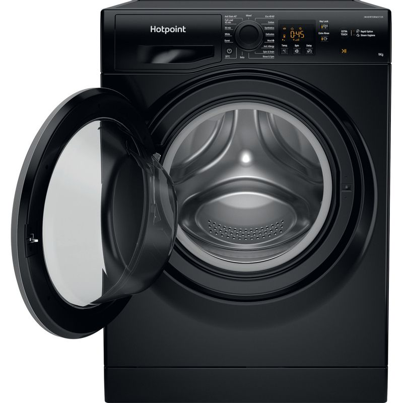 Hotpoint-Washing-machine-Free-standing-NSWM-944C-BS-UK-N-Black-Front-loader-C-Frontal-open