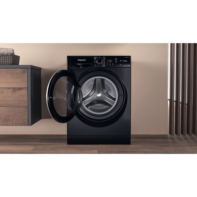Hotpoint-Washing-machine-Free-standing-NSWM-944C-BS-UK-N-Black-Front-loader-C-Lifestyle-frontal-open