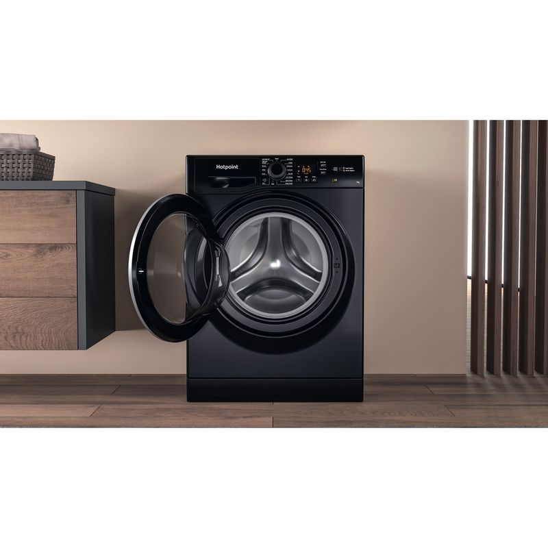 Hotpoint-Washing-machine-Free-standing-NSWF-743U-BS-UK-N-Black-Front-loader-D-Lifestyle-frontal-open