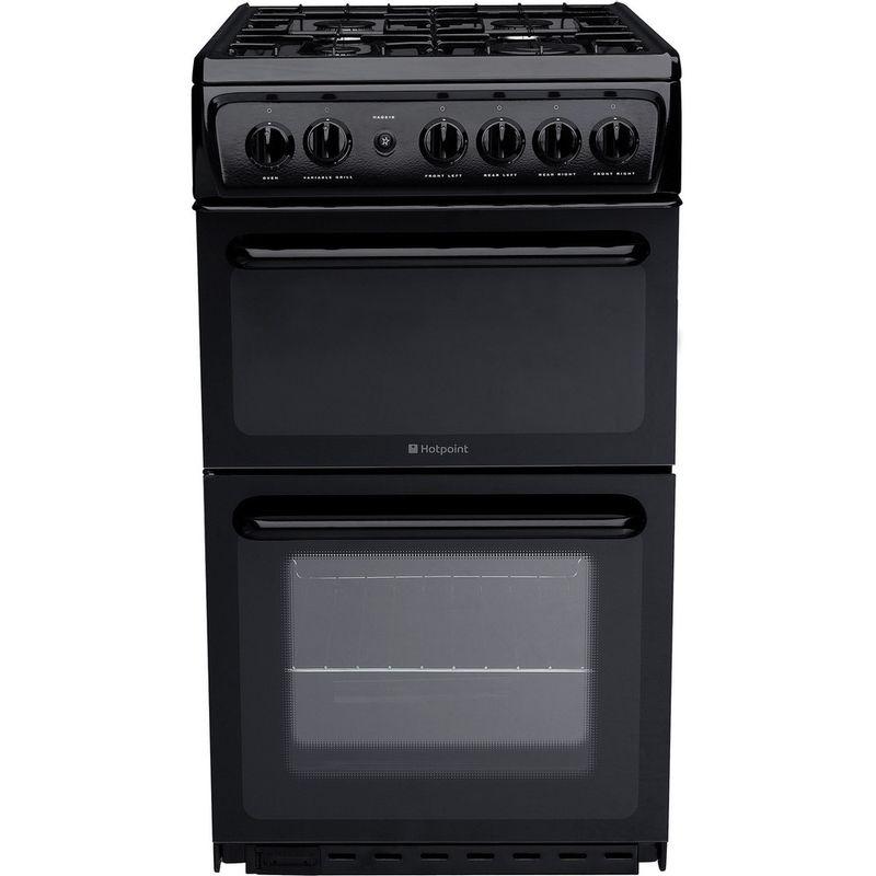 Hotpoint-Double-Cooker-HAG51K-Black-A--Enamelled-Sheetmetal-Frontal