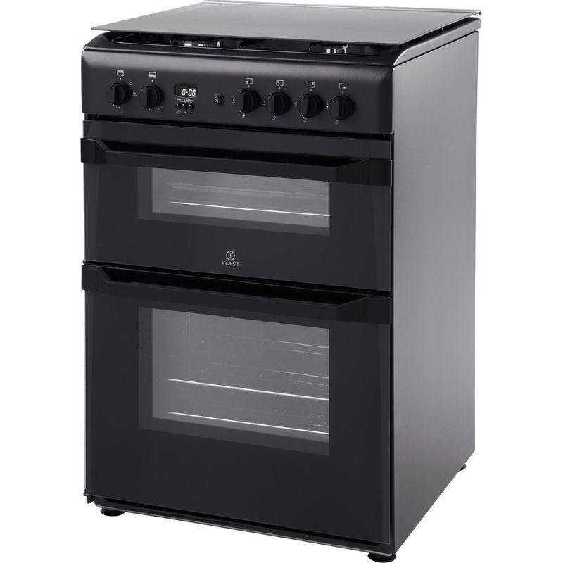 Hotpoint-Double-Cooker-HAG51K-Black-A--Enamelled-Sheetmetal-Perspective