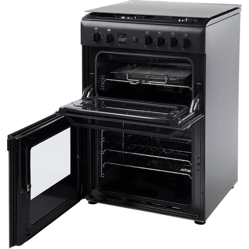Hotpoint-Double-Cooker-HAG51K-Black-A--Enamelled-Sheetmetal-Perspective_Open