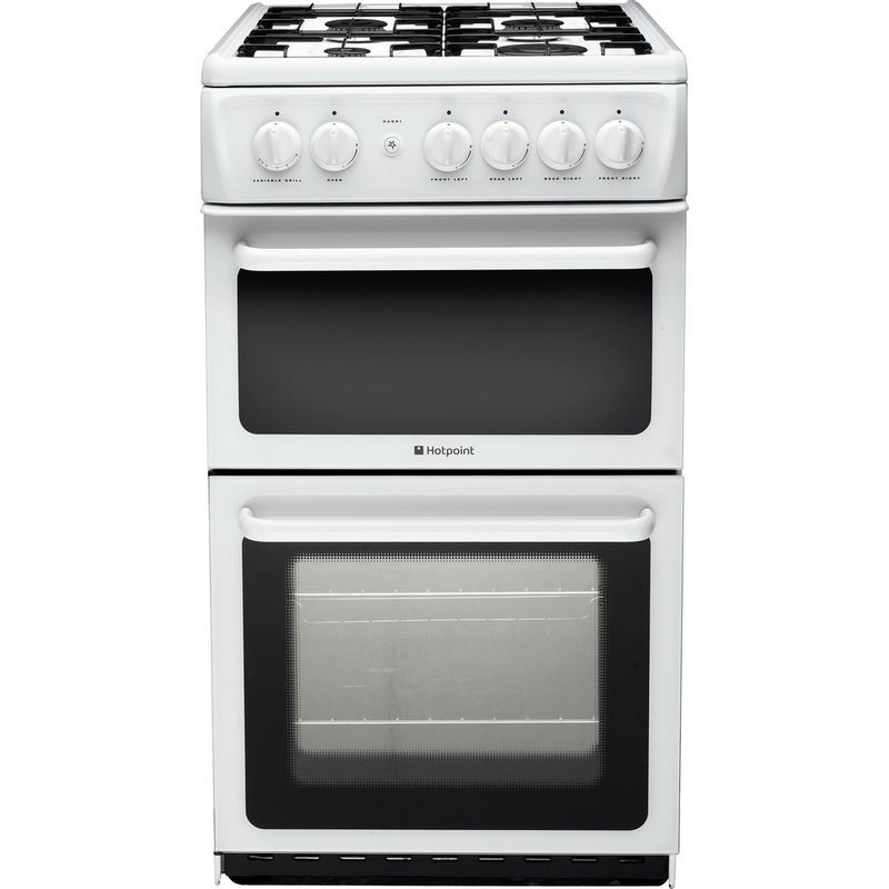 Hotpoint-Double-Cooker-HAG51P-White-A--Enamelled-Sheetmetal-Frontal